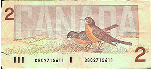 Canadian Two dollar bill with robins on the back