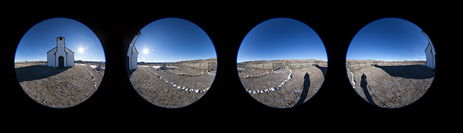 Four fisheye images used to stitch and create a spherical panorama by Robert Berdan ©