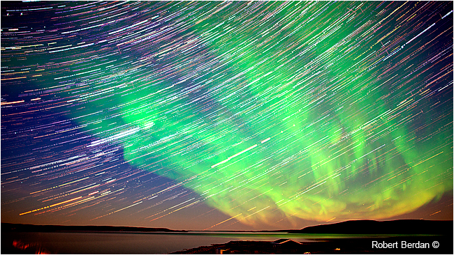 Star trails over Point Lake, NWT by Robert Berdan ©