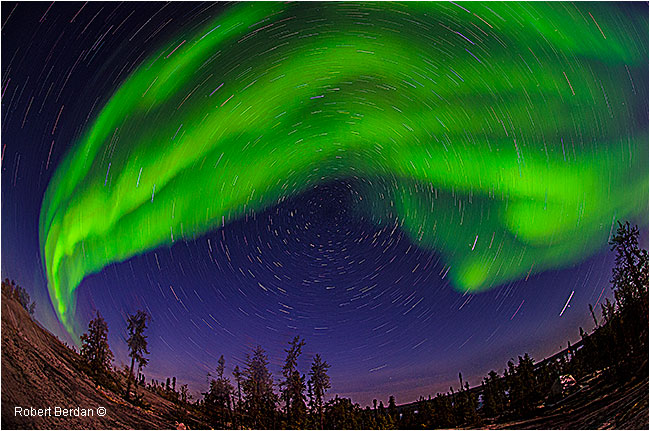 Aurora and star trails over Prelude lake by Robert Berdan ©