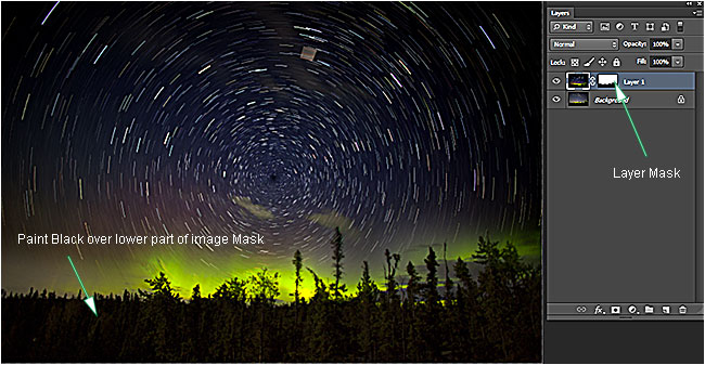 Star Trails and layers palette by Robert Berdan ©