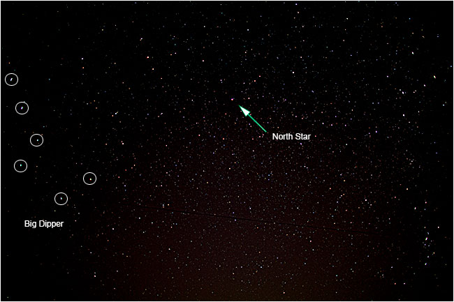 Photograph of the north star and big dipper by Robert Berdan ©