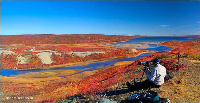 Photographer sitting to use tripod overlooking the tundra ©