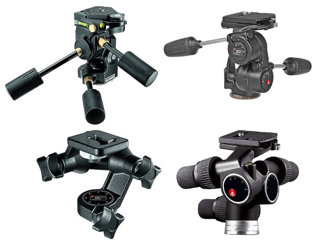 Three way pan tilt heads from Manfrotto