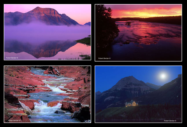 Vimy peak, waterton river at sunrise, copper creek and Prince of Wales hotel under full moon by Robert Berdan ©