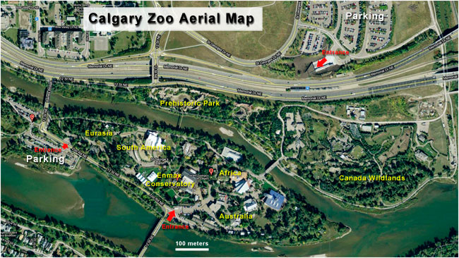 Aerial map of the Calgary Zoo