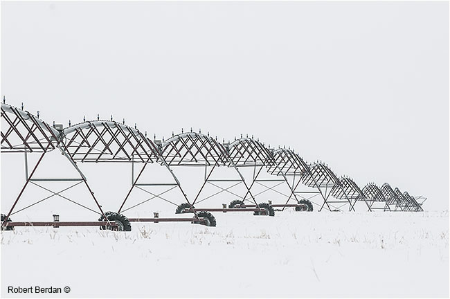 Irrigation equipment in winter field by Robert Berdan ©
